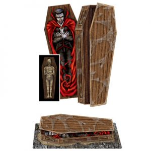 3-D COFFIN WITH A VAMPIRE & MUMMY INSIDE!