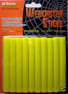 WEBCASTER STICKS 20 PACK YELLOW BLACK-LIGHT REACTIVE