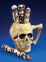 SKULL COFFEE MUG, PEN CUP