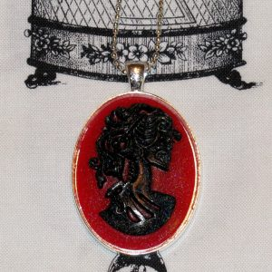 VICTORIAN LADY SKELETON CAMEO NECKLACE - BLACK