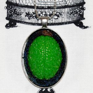 ZOMBIE BRAAAIINNNZZZZ CAMEO NECKLACE - GRUSOME GREEN
