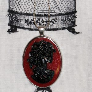 VICTORIAN LADY SKELETON CAMEO NECKLACE - BLACK/RED