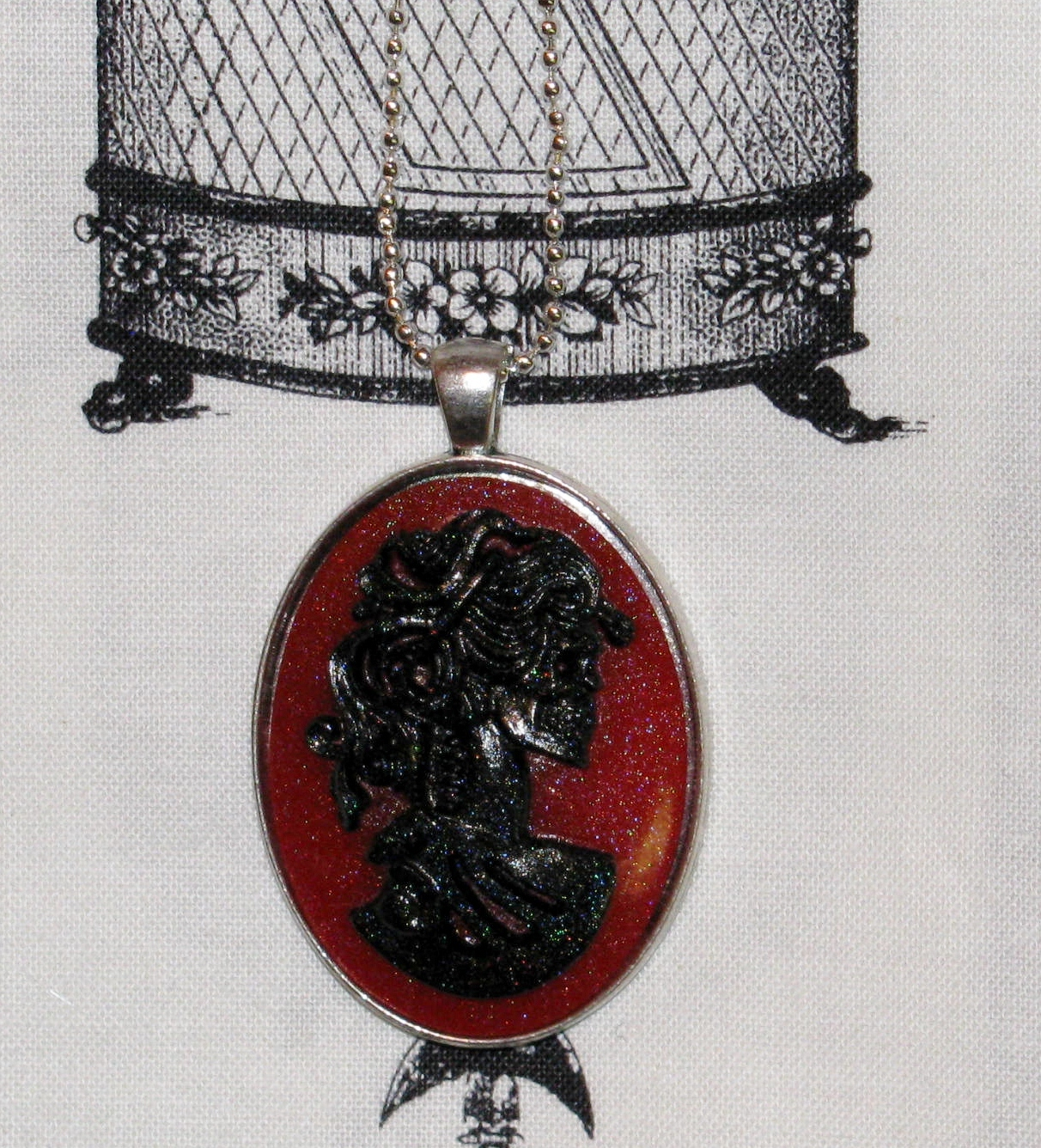 Red Skeleton Cameo Necklace