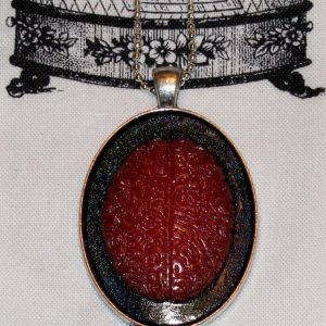 ZOMBIE BRAAAIINNNZZZZ CAMEO NECKLACE - BLOOD RED
