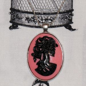 VICTORIAN LADY SKELETON CAMEO NECKLACE - BLACK/PINK