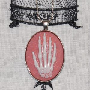 SKELETAL HAND WHITE/PINK CAMEO NECKLACE