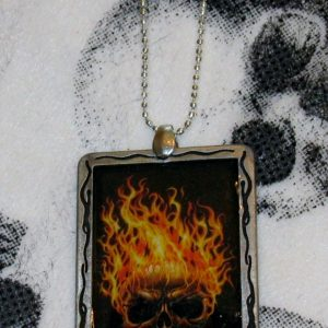 FLAMING SKULL LARGE NECKLACE