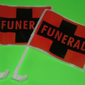 ORANGE FUNERAL FLAGS - WINDOW MOUNT - PAIR