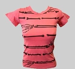 SKELETON ARM BABY-DOLL TEE - PINK