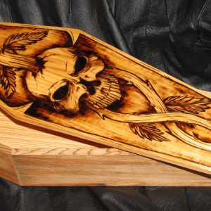 SKULL DESIGN WOODEN CASKET - RAY ANTHONY ORIGINAL!