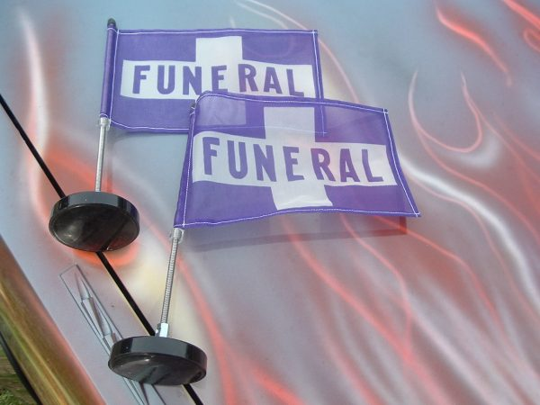 PURPLE MAGNETIC FUNERAL FLAGS