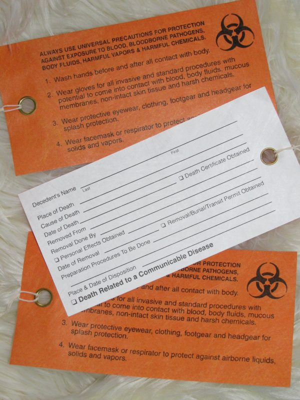 "BIO-HAZARD ORANGE ""WARNING"" TOE-TAGS SET OF 3"