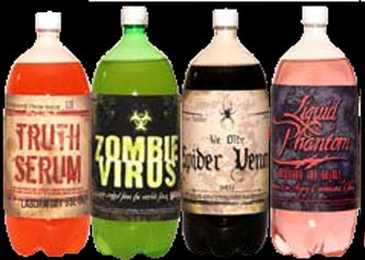 SPOOKY BOTTLE STICKERS LARGE 4 PACK  II