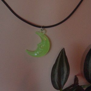 GLOW-IN-THE-DARK CRESCENT MOON NECKLACE - WICCA