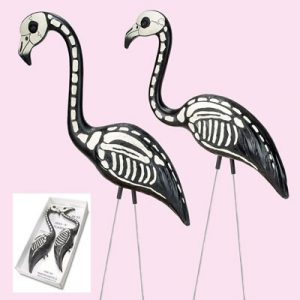SKEL-E-MINGO PAIR (SKELETON FLAMINGOS)